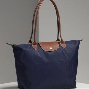 Longchamp Le Pliage Blue Nylon/Leather Tote